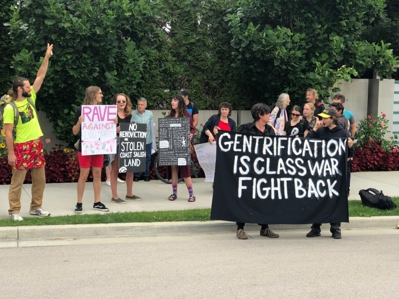"""Protestors gathered outside Chip Wilson's Point Grey mansion Saturday afternoon for a """"rave against renovictions."""" Photo Jessica Kerr"""
