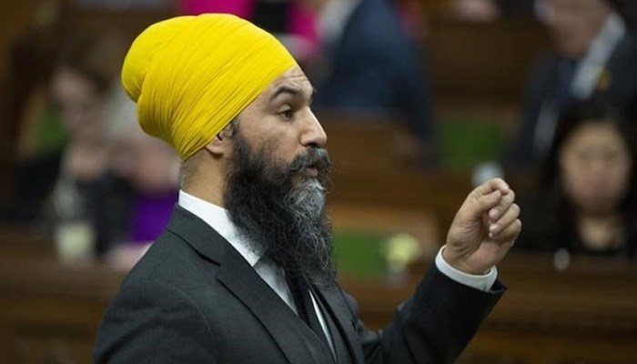 NDP Leader Jagmeet Singh rises for the first time after taking his place in the House of Commons Monday March 18, 2019 in Ottawa. Adrian Wyld/Canadian Press