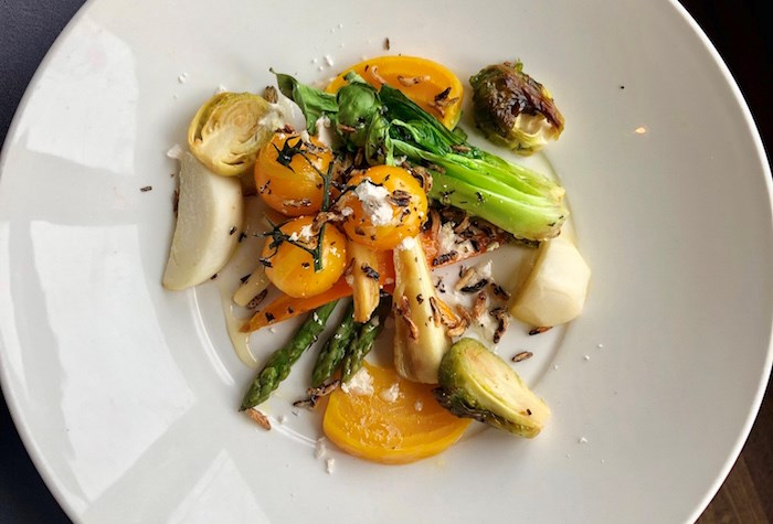 Braised vegetables appetizer at Les 4 Canards at Chateau Bromont. Photo by Lindsay William-Ross/Vancouver Is Awesome