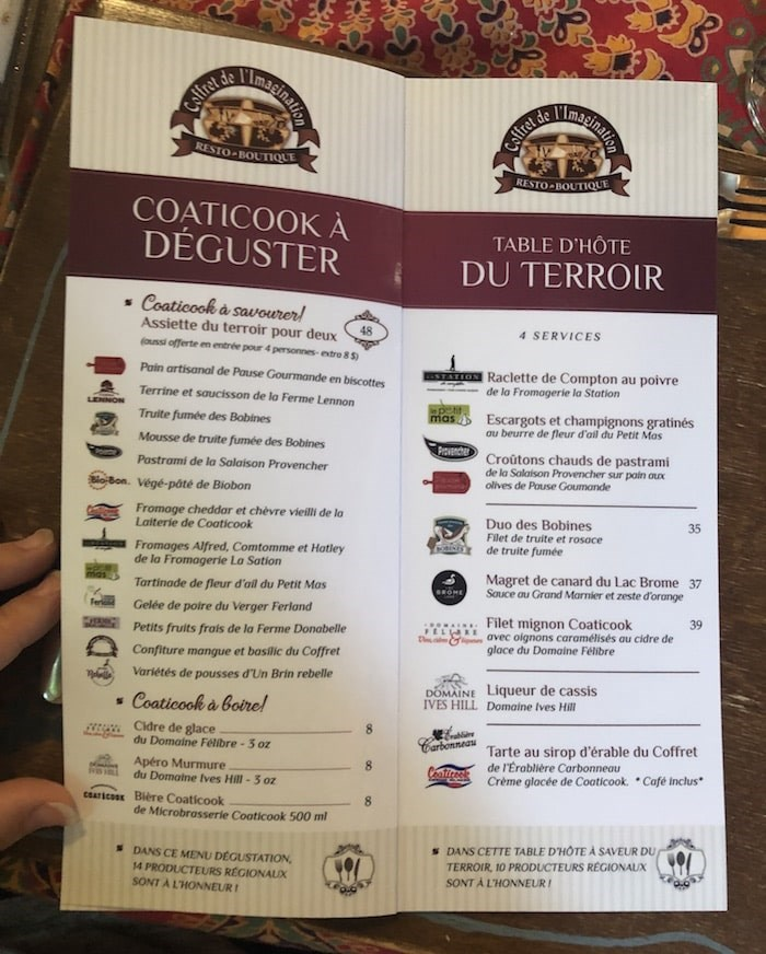 Menu at Le Coffret de l'Imagination in Coaticook. Photo by Lindsay William-Ross/Vancouver Is Awesome