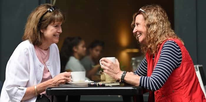 Retired teachers Kathy O'Sullivan, left, and Theresa McNicholl have visited close to 400 coffee shops in the city. Photo: Dan Toulgoet