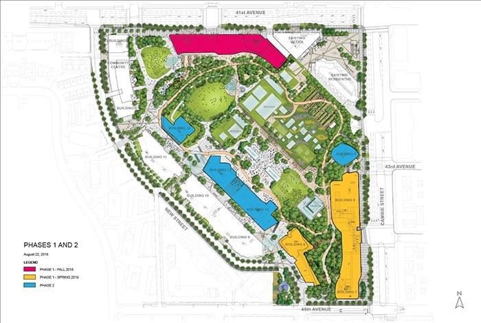 Location of buildings in the Oakridge redevelopment. Buildings one and two are in the top left corner in white. Buildings three and four are in pink and buildings six, seven and eight are in yellow. Six more applications for building permits are expected.