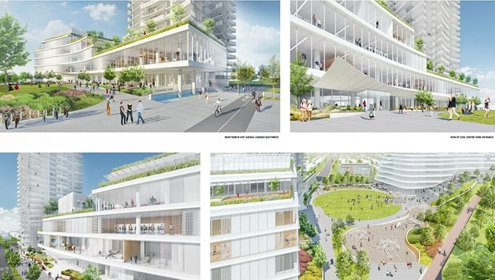 Clockwise from top left: View from West 41st Avenue looking southwest; view of civic centre park entrance; aerial view of civic centre park looking north; view from new street looking northeast. Renderings Henriquez Partners Architects