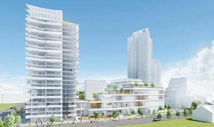 View from new street looking east. Rendering Henriquez Partners Architects