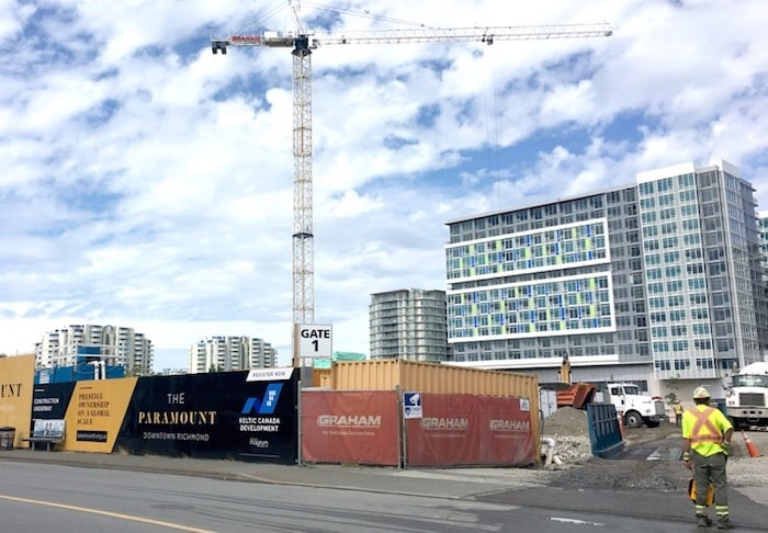 Keltic Development is building four towers of mixed residential, commercial and office on No. 3 Road and Cook. Photo by Maria Rantanen/Richmond News