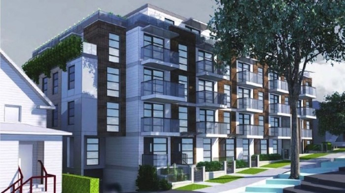 Submitted for rezoning in May 2018, this 35-unit rental project on Grant Street in Vancouver is still before city council, with the next public hearing set for September 12, 2019. Image courtesy Stuart Howard Architects Inc.