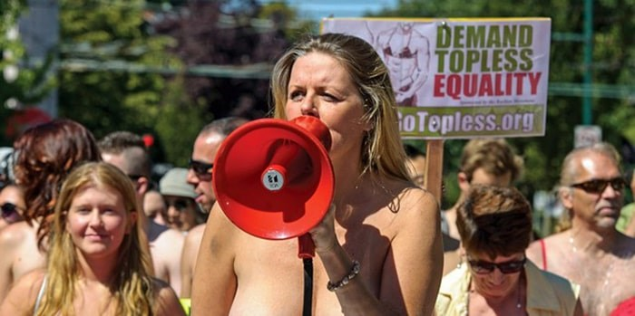 Denise Belisle at a topless march in Vancouver. The peaceful protest is coming to Whistler for the first time on Sunday, Aug. 25. Photo by ward perrin / Courtesy of the vancouver sun