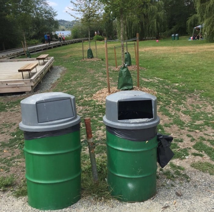 City of Burnaby garbage cans at Deer Lake. Photo courtesy John Preissl