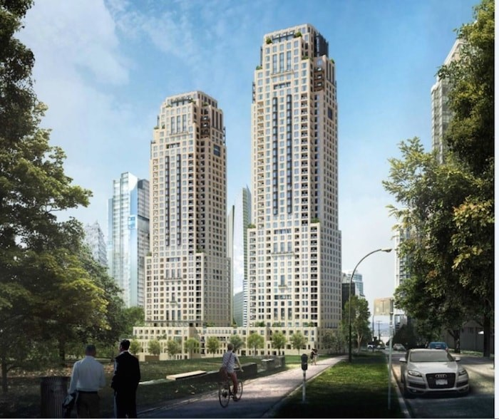 City council also recently approved a two-tower Passive House development by Landa Global Properties and Asia Standard Americas, which will feature a 43-storey and a 48-storey building at 1444 Alberni St. The taller of the two towers, which were designed by Musson Cattell Mackey Partnership, will reach 442 feet. It will be the city's first Passive House tower development. Rendering Musson Cattell Mackey Partnership