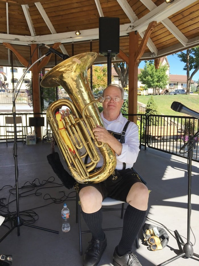 Adding to the Bavarian festivities, oom-pah bands honk out tunes under colourful bandstands. Photo Grant Lawrence
