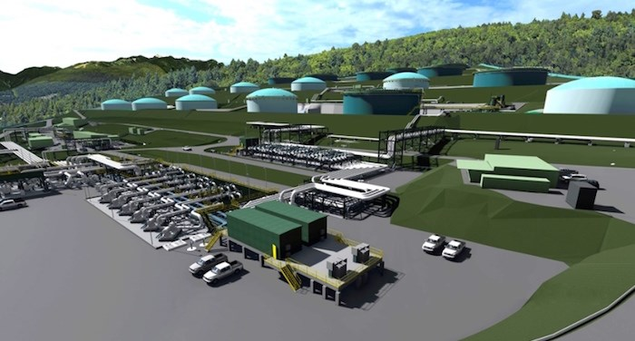 A computer rendering of how the Burnaby Mountain tank farm will look when changes are completed for the Trans Mountain pipeline expansion project. Trans Mountain image