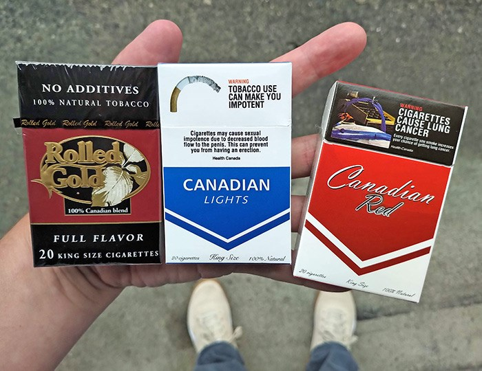 Contraband cigarettes purchased in the Downtown Eastside of Vancouver. Photo Bob Kronbauer