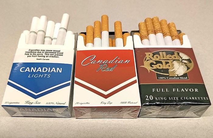 Different brands of contraband cigarettes, originally offered for sale on First Nations reservations in Canada. Photo Bob Kronbauer
