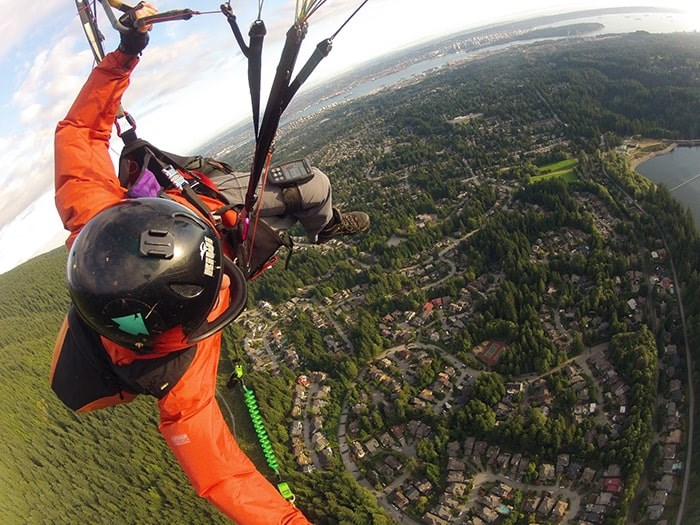 Paragliding from Grouse Mountain. Photo: Bill Nikolai