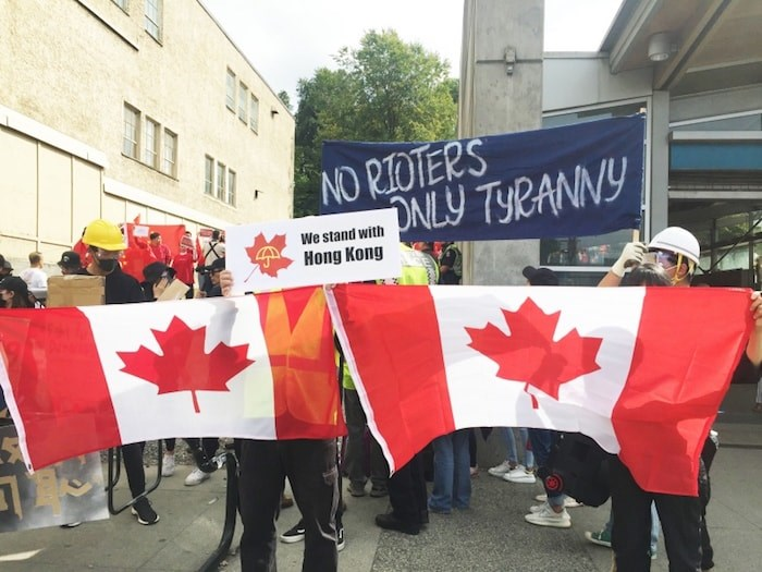 Hong Kong supporters rally in Vancouver on Sat. Aug. 17, 2019. Photo by Nono Shen/Richmond News