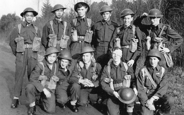Bing Wong, front row at left, is shown during the early 1940s as he trained for combat in the Second World War. - Photo courtesy of the Chinese Canadian Military Museum Society