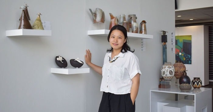 Wei Cheng is among the youngest artists in the show. Photograph By Nono Shen