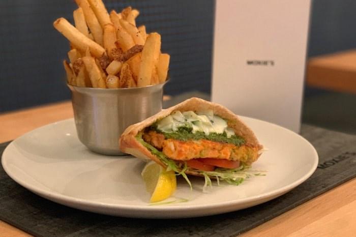 Lois Lake Salmon Burger at Moxie's on Davie. Photo via Le Burger Week