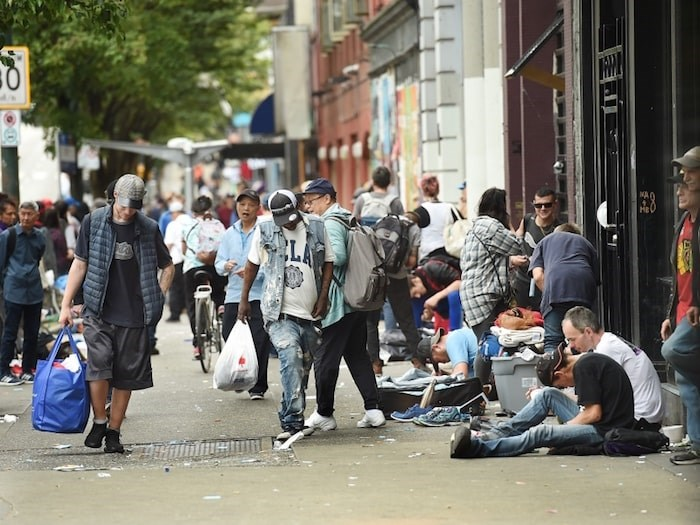 The area near Hastings and Carrall streets, pictured here earlier this month, was the scene of a series of unprovoked attacks on Aug. 21. Photo by Dan Toulgoet/Vancouver Courier