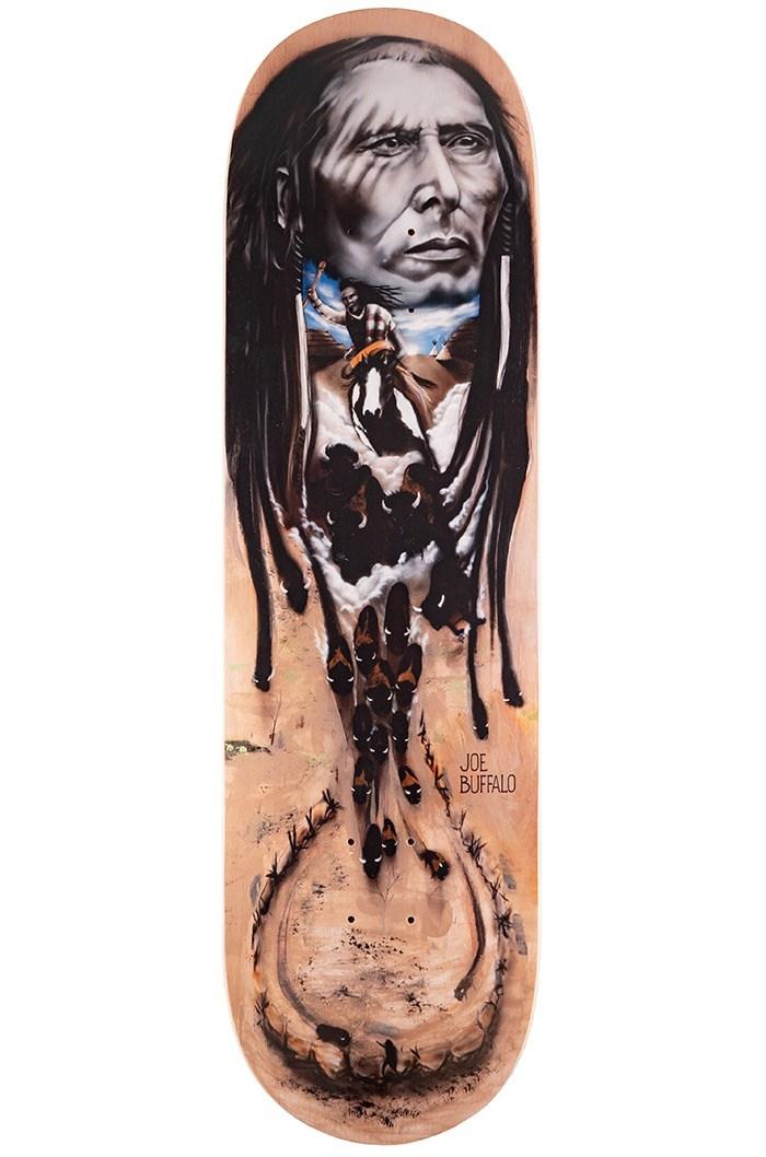 Joe Buffalo's premiere pro model skateboard from Colonialism Skateboards. Photo Noel Wendt.
