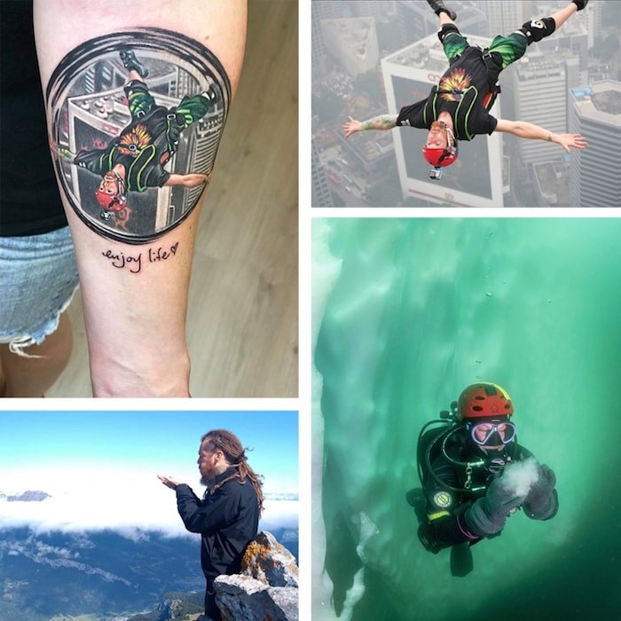 Top two images: A comparison of Rachel Polite's tattoo and the photograph of her late brother. Bottom, a shot from the underwater release of Racicot's ashes, and, bottom left, another release in France.