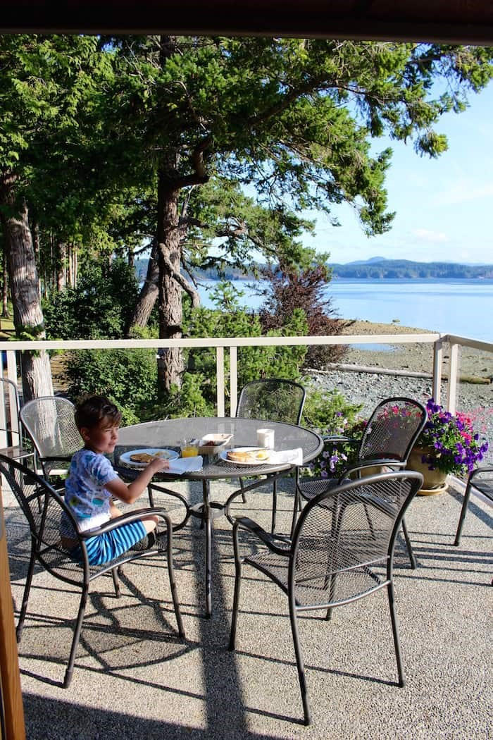 Breakfast on the balcony of the Upper Beach House at Taku Resort. Photo by Lindsay William-Ross/Vancouver Is Awesome