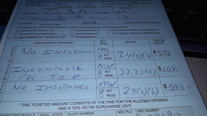 A copy of the ticket issued by Delta police. - Courtesy Delta Police Traffic Unit