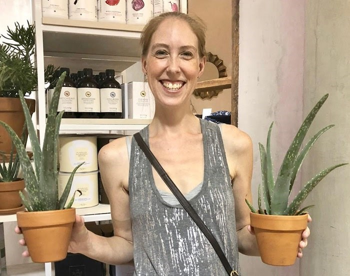 Aloe Gal Sarah Shore in Scottsdale, Arizona checking out the local plants.