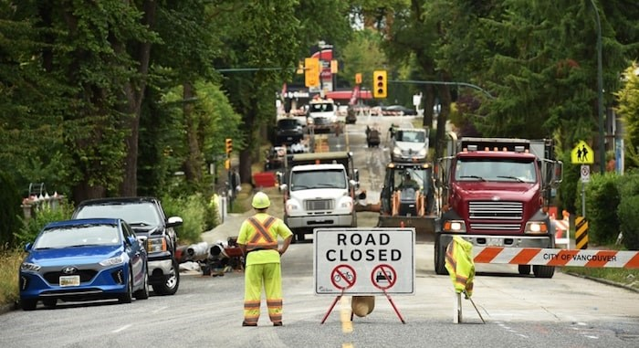 The water main replacement project on 12th Avenue finished ahead of schedule last week. Photo by Dan Toulgoet/Vancouver Courier