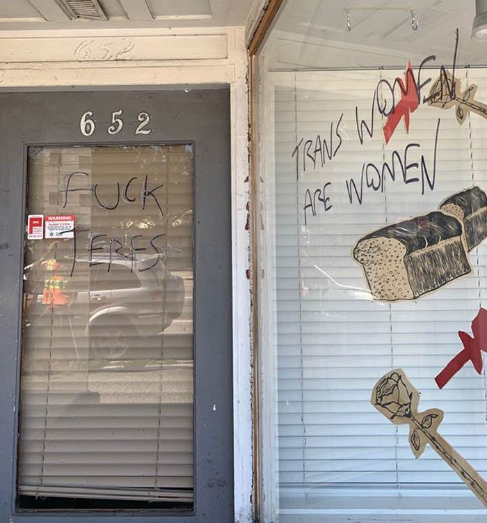 Some of the vandalism left on the windows of the Vancouver Rape Relief and Women's Shelter storefront. Photo Vancouver Rape Relief/Twitter