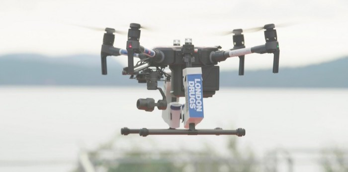 London Drugs, Canada Post and InDro Robotics say they successfully completed Canada's first-ever Beyond Visual Line-of-Sight flight carrying pharmaceuticals earlier in August. Photo courtesy London Drugs