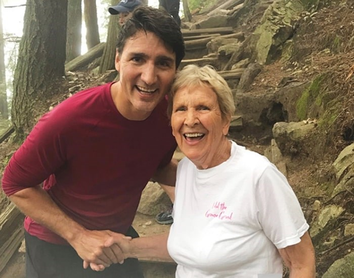 Prime Minister Justin Trudeau stopped for a photo with Mary Horne. photo supplied Robert Horne