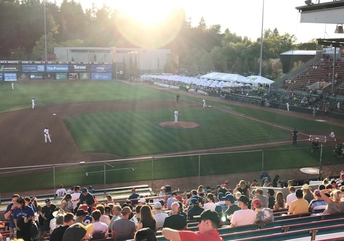 The Vancouver Canadians take the field for a recent home game at beautiful Nat Bailey Stadium. The team's stellar attendance numbers show that Vancouver loves its baseball. Photo by Andy Prest/North Shore News
