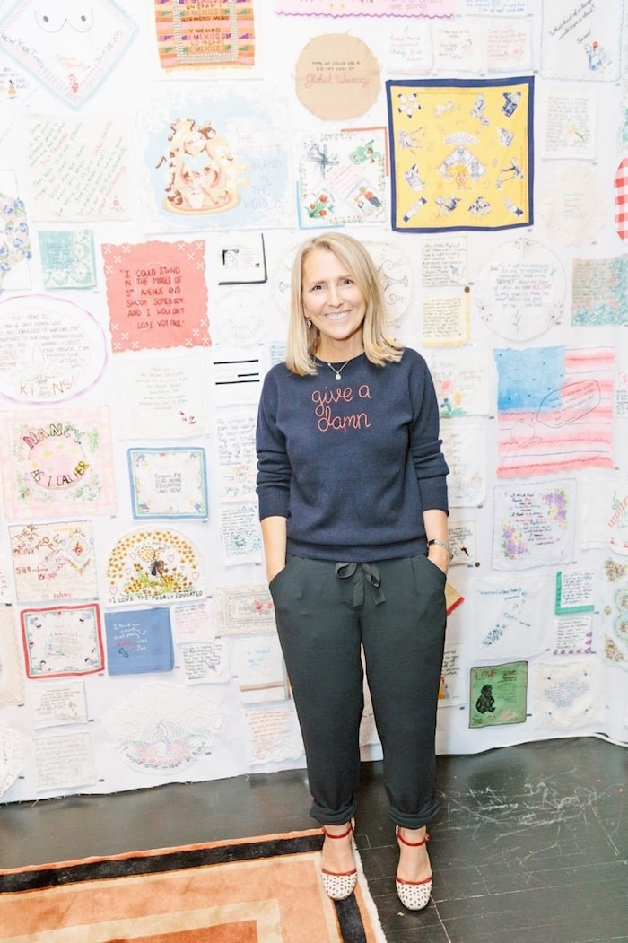Diana Weymar at the opening of the Tiny Pricks exhibition at Lingua Franca in New York City. The Victoria artist curates a collection of textiles hand-stitched with the words of U.S. President Donald Trump. Photo by Yvonne TNT/BFA.com