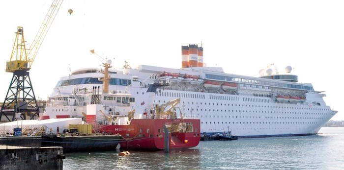 The 1,600-passenger Grand Classica will house some of the 2,000 workers on the Seaspan project. Photo by Paul McGrath/North Shore News