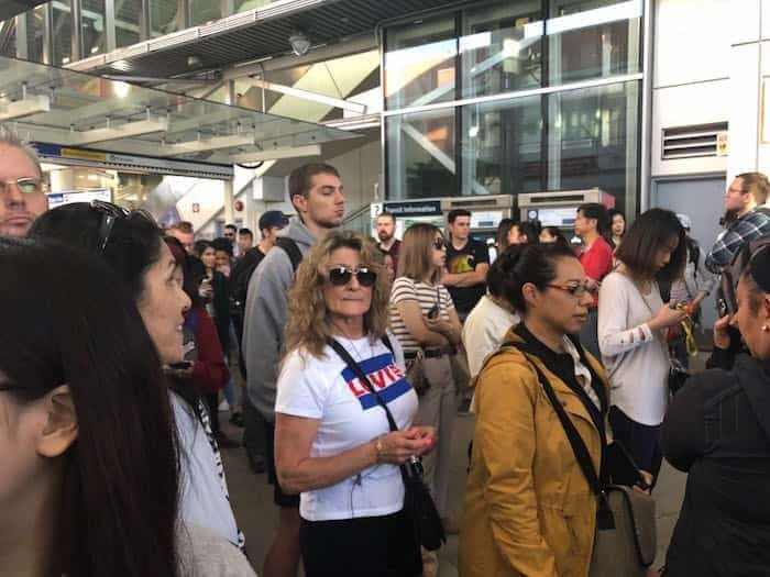 Lines at Commercial-Broadway Station for the #99 and #9 routes on Sept. 5. Photo: Elana Shepert / Vancouver Is Awesome