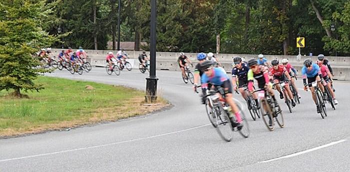 More than 4,500 cyclists make their way across Lions Gate Bridge on their way to Whistler, part of the 122-kilometre GranFondo Race. photo Ben Bengtson, North Shore News