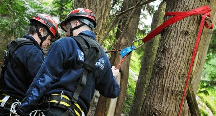 District of North Vancouver Fire and Rescue Services rescued a man and his dog who were stuck on a sandbar following a Lynn Canyon cliff jump Friday evening. file photo Cindy Goodman, North Shore News
