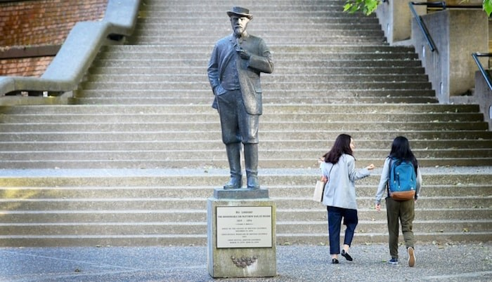 Having removed the Judge Begbie statue from Begbie Square in July, city council is now poised to consider a motion that would see Begbie Square (shown here, in front of the law courts on Carnarvon Street) and Begbie Street in downtown New West renamed Chief Ahan Square and Chief Ahan Street. New Westminster Record file photo