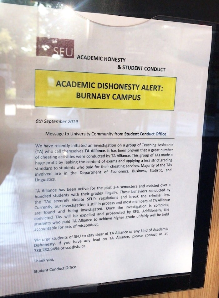 This notice that appeared around SFU's Burnaby campus Friday is a fake, according to the university. Photo contributed.