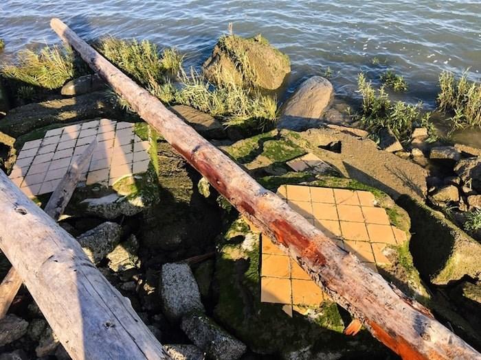 Illegally-dumped objects at Richmond's Triangle Beach. Photo by Kirsten Clarke/Richmond News