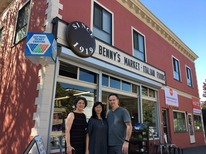 All in the family: Janice, Janet and Ramon Junior Benedetti celebrated the 100th anniversiy of Benny's Market in August. Photo Grant Lawrence