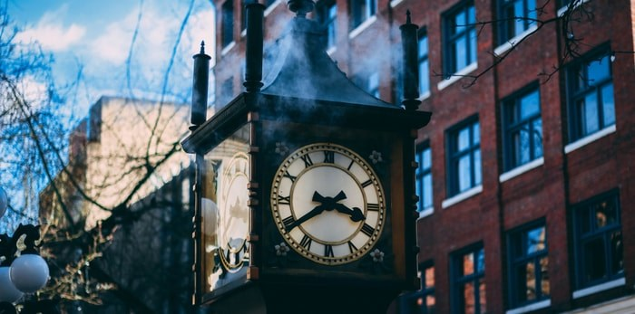 The famous Gastown Steam Clock in Vancouver/Shutterstock