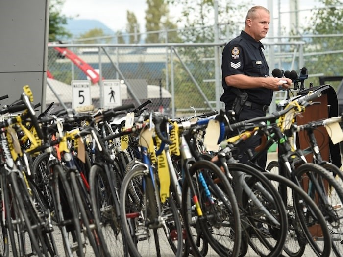 Vancouver police have made a substantial seizure of stolen property in the city's East Side. Officers have recovered 148 stolen bicycles, scooters and electric bicycles, worth tens of thousands of dollars. Photo Dan Toulgoet