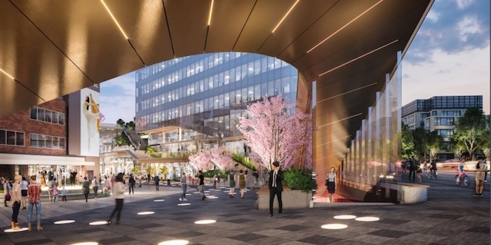 View from transit plaza looking west. Rendering Henriquez Partners Architects
