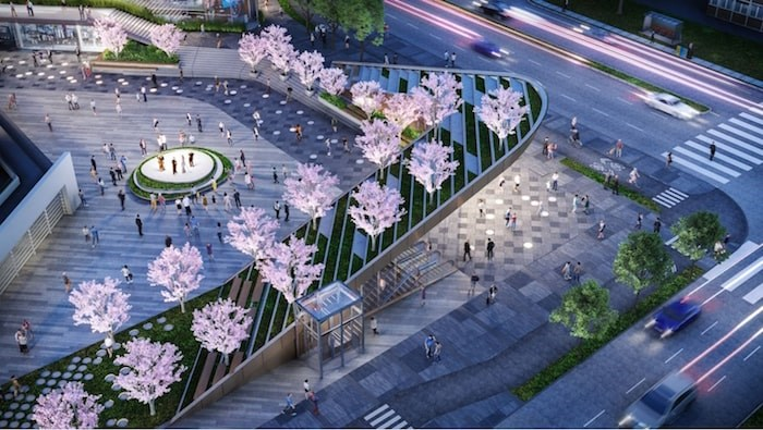 Aerial view of transit plaza. Rendering Henriquez Partners Architects