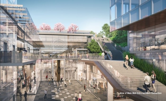 View of main mall entry and park connection. Rendering Henriquez Partners Architects