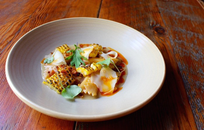 Sweetcorn Agnolotti from the Farmers' Harvest menu at Wildebeest. Photo by Lindsay William-Ross/Vancouver Is Awesome