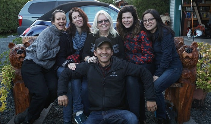 The film crew with Biker Bob's wife, Maudine Pervil. Photo Caleb Harding