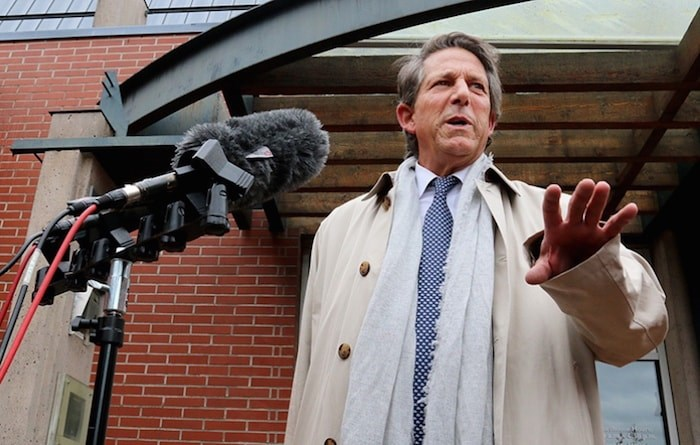 Ian Donaldson, defence lawyer for Port Moody Mayor Rob Vagramov, speaks to the media outside Port Coquitlam provincial court on Thursday. Photo by Mario Bartel/Tri-City News